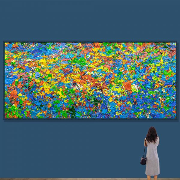 Tran Tuan Abstract Symphony of the Universe 2020 200 x 450 x 15 cm Oil on Canvas Painting