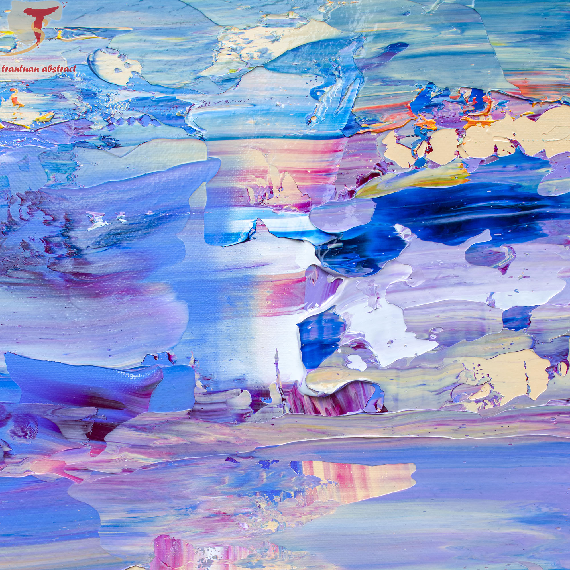 Tran Tuan Abstract Beautiful Day 2021 135 x 80 x 5 cm Acrylic on Canvas Painting Detail
