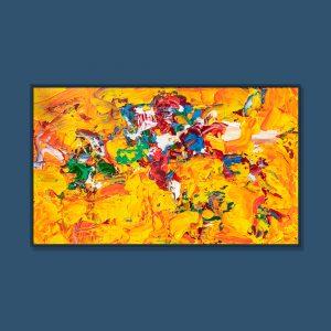 Tran Tuan Abstract Gorgeous Golden Season 2021 135 x 80 x 5 cm Acrylic on Canvas Painting