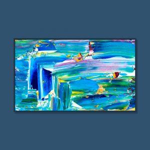 Tran Tuan Abstract Happy Blue Night 2021 135 x 80 x 5 cm Acrylic on Canvas Painting