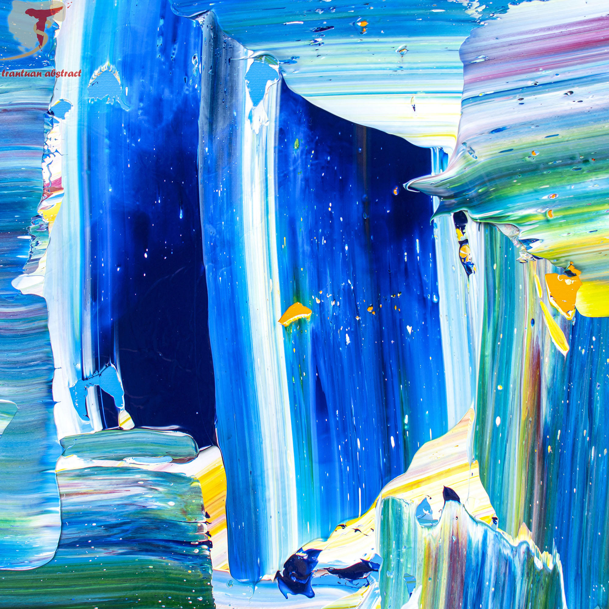 Tran Tuan Abstract Happy Blue Night 2021 135 x 80 x 5 cm Acrylic on Canvas Painting Detail