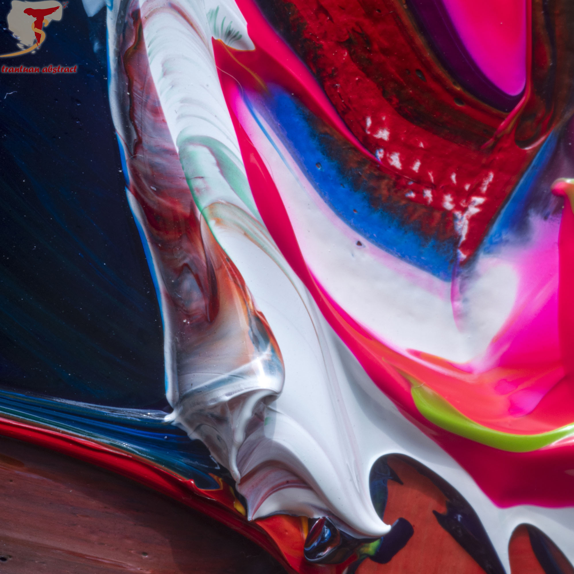 Tran Tuan Abstract Melody of Love 135 x 80 x 5 cm Acrylic on Canvas Painting Detail
