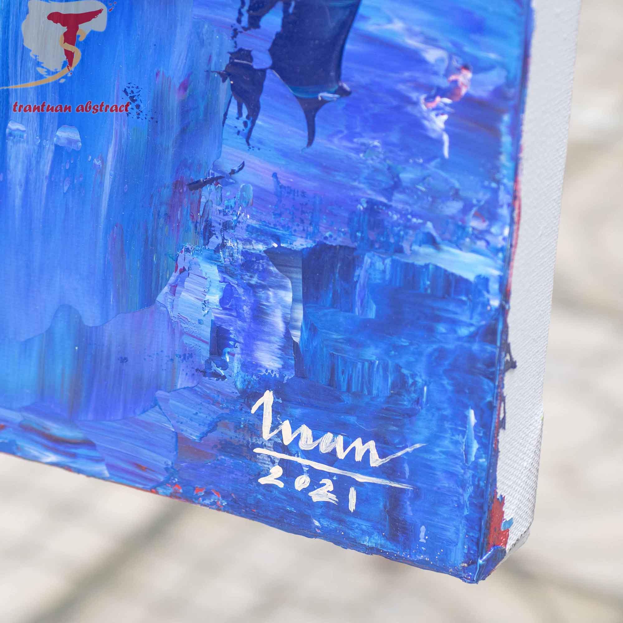 Tran Tuan Abstract Mysterious Stillness 2021 135 x 80 x 5 cm Acrylic on Canvas Painting Detail