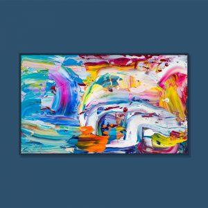 Tran Tuan Abstract Rainbow and Rain 2021 135 x 80 x 5 cm Acrylic on Canvas Painting