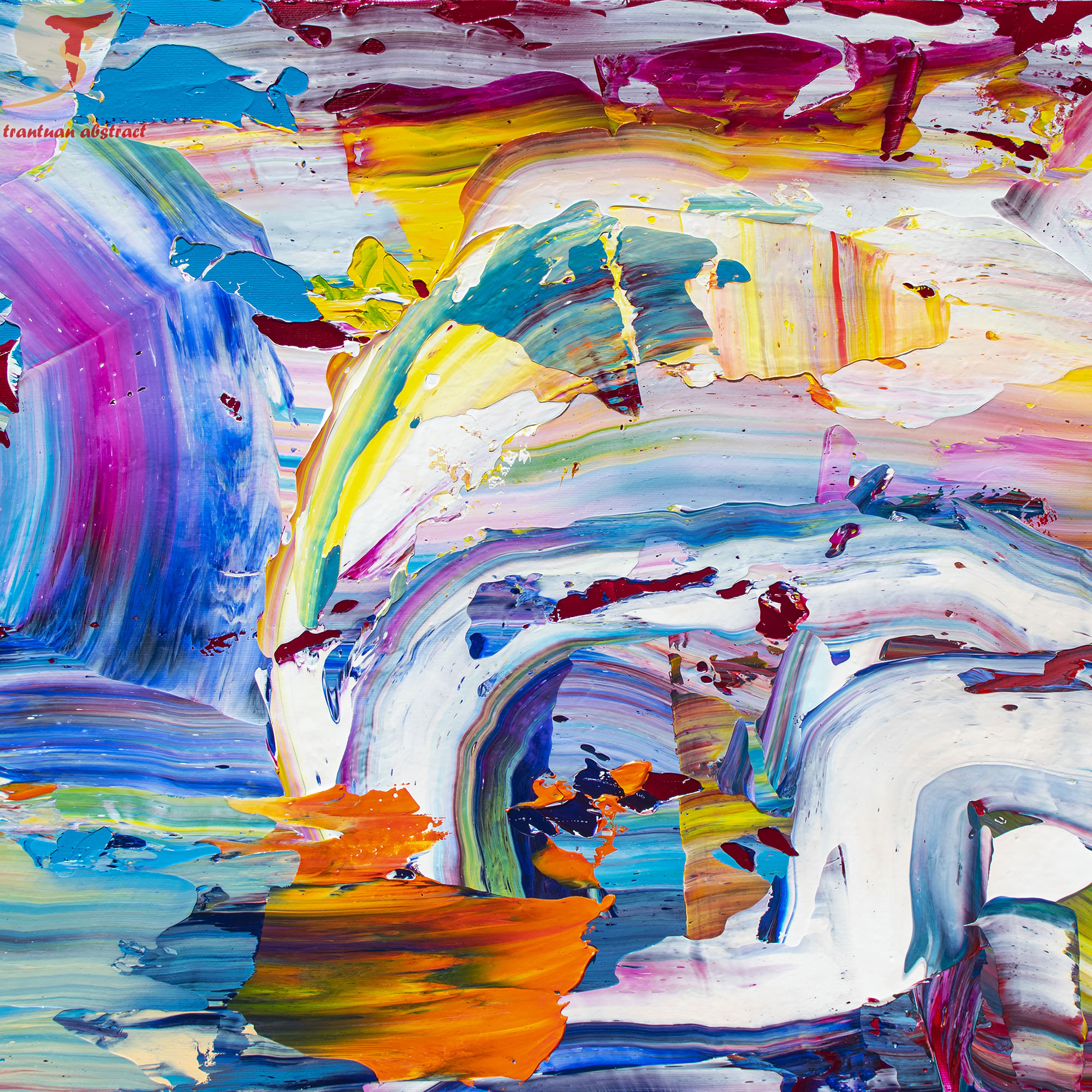 Tran Tuan Abstract Rainbow and Rain 2021 135 x 80 x 5 cm Acrylic on Canvas Painting Detail (1)