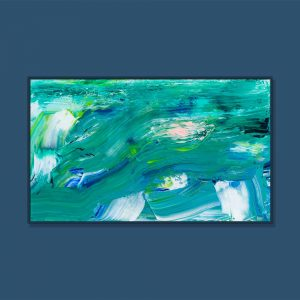 Tran Tuan Abstract Blurry Moon in Green Night 2021 135 x 80 x 5 cm Acrylic on Canvas Painting