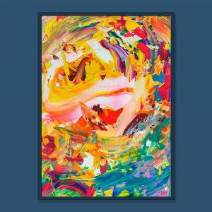 Tran Tuan Abstract Birdsong 2021 95 x 68 x 5 cm Acrylic on Canvas Painting