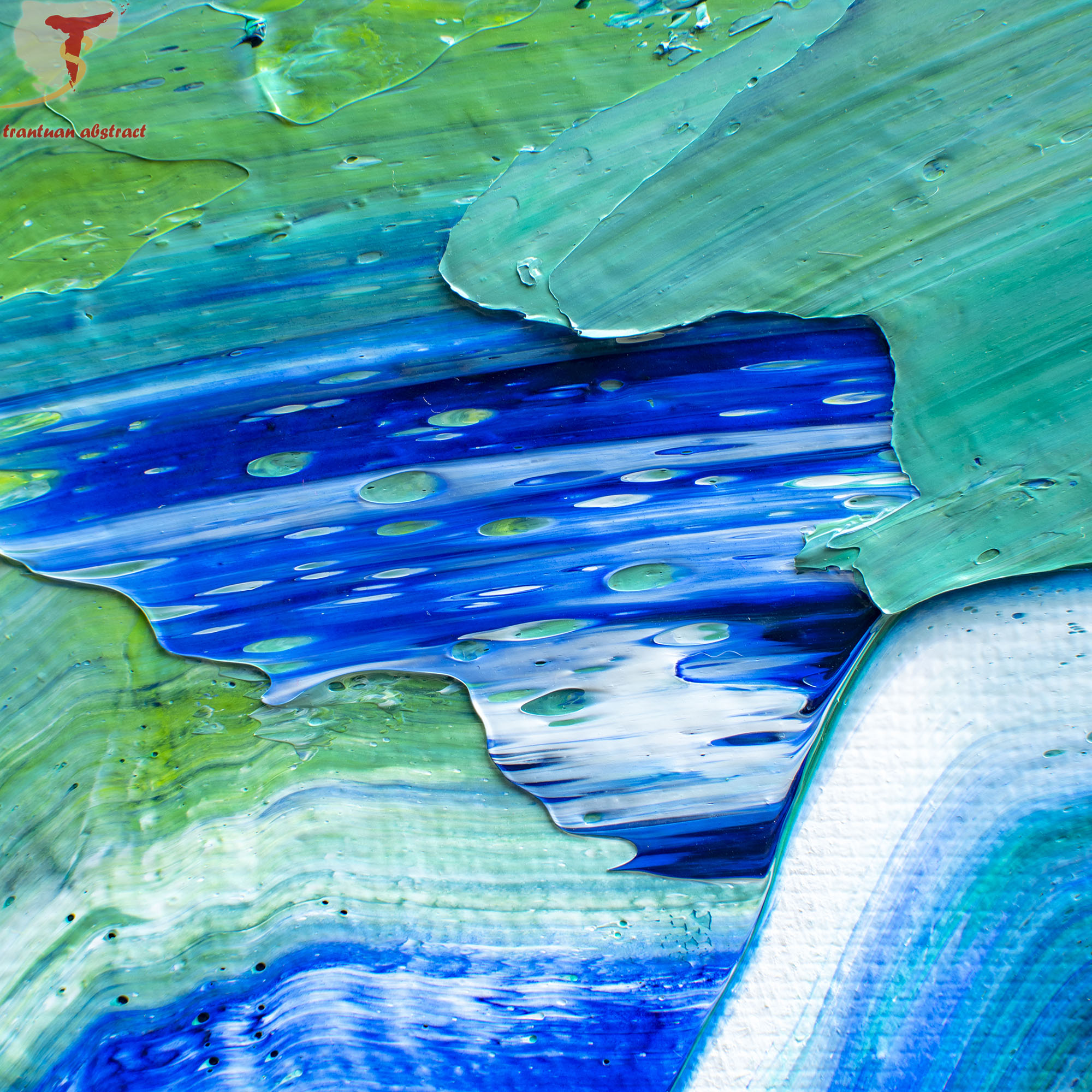 Tran Tuan Abstract Blurry Moon in Green Night 2021 135 x 80 x 5 cm Acrylic on Canvas Painting Detail