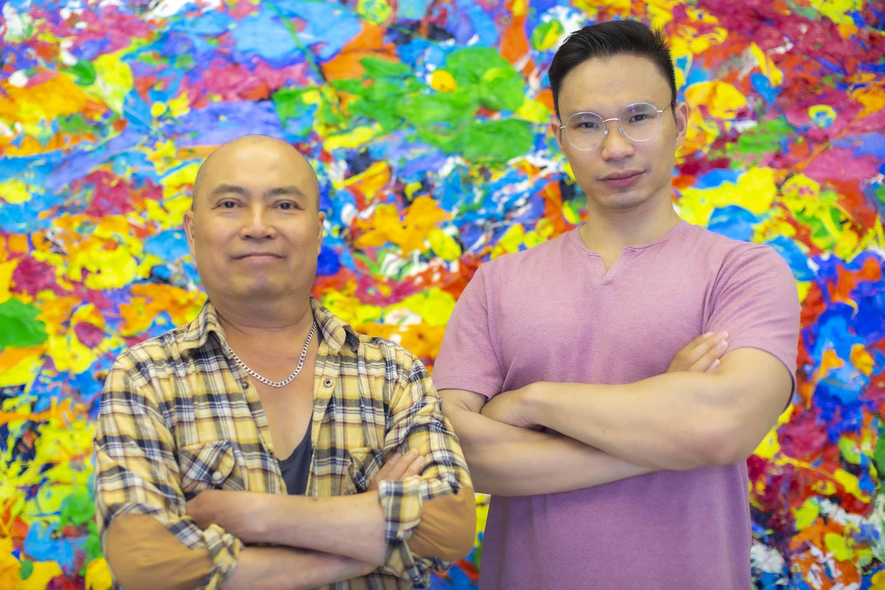 Artist Tran Tuan with Manager