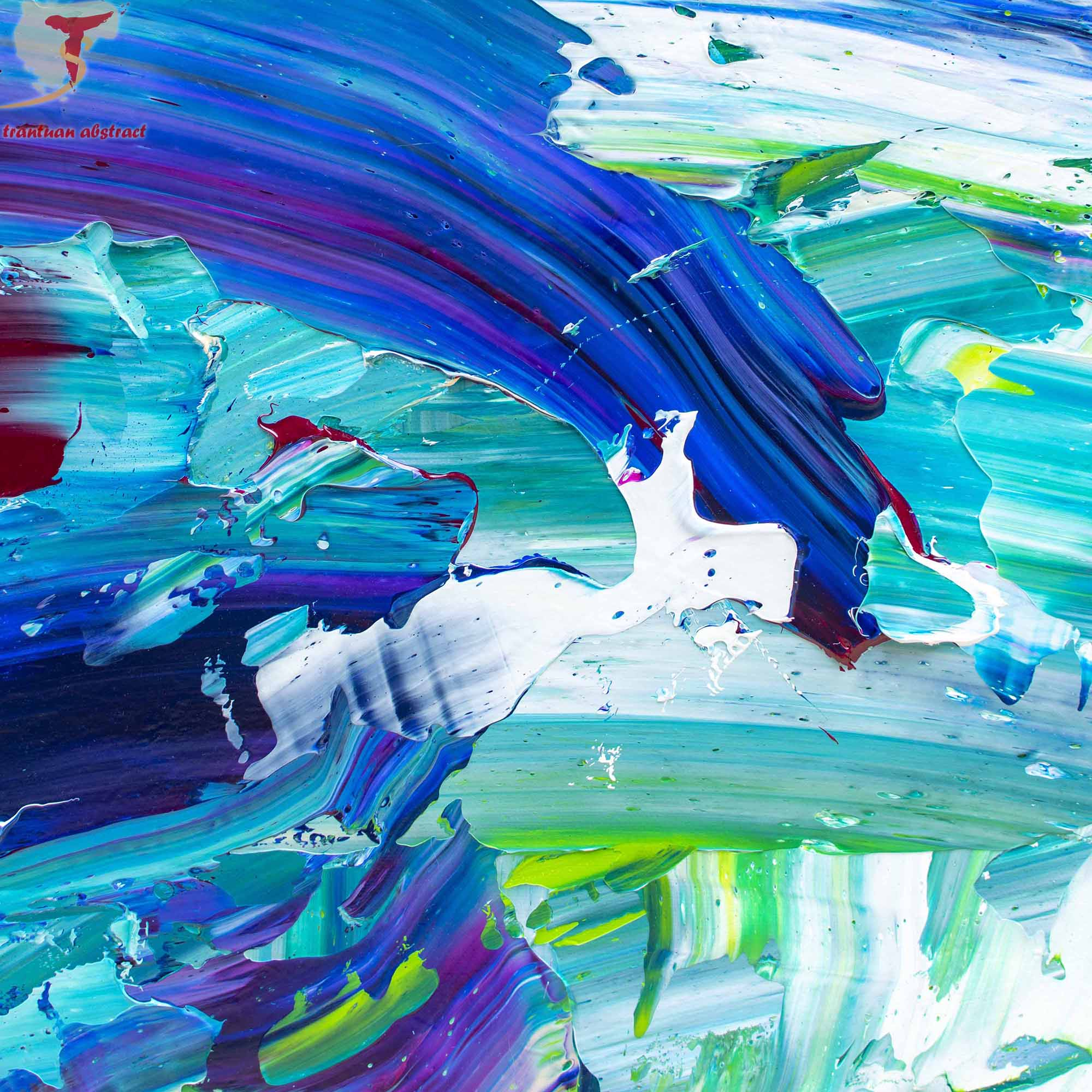 Tran Tuan Abstract Currents of Time 2021 135 x 80 x 5 cm Acrylic on Canvas Painting Detail