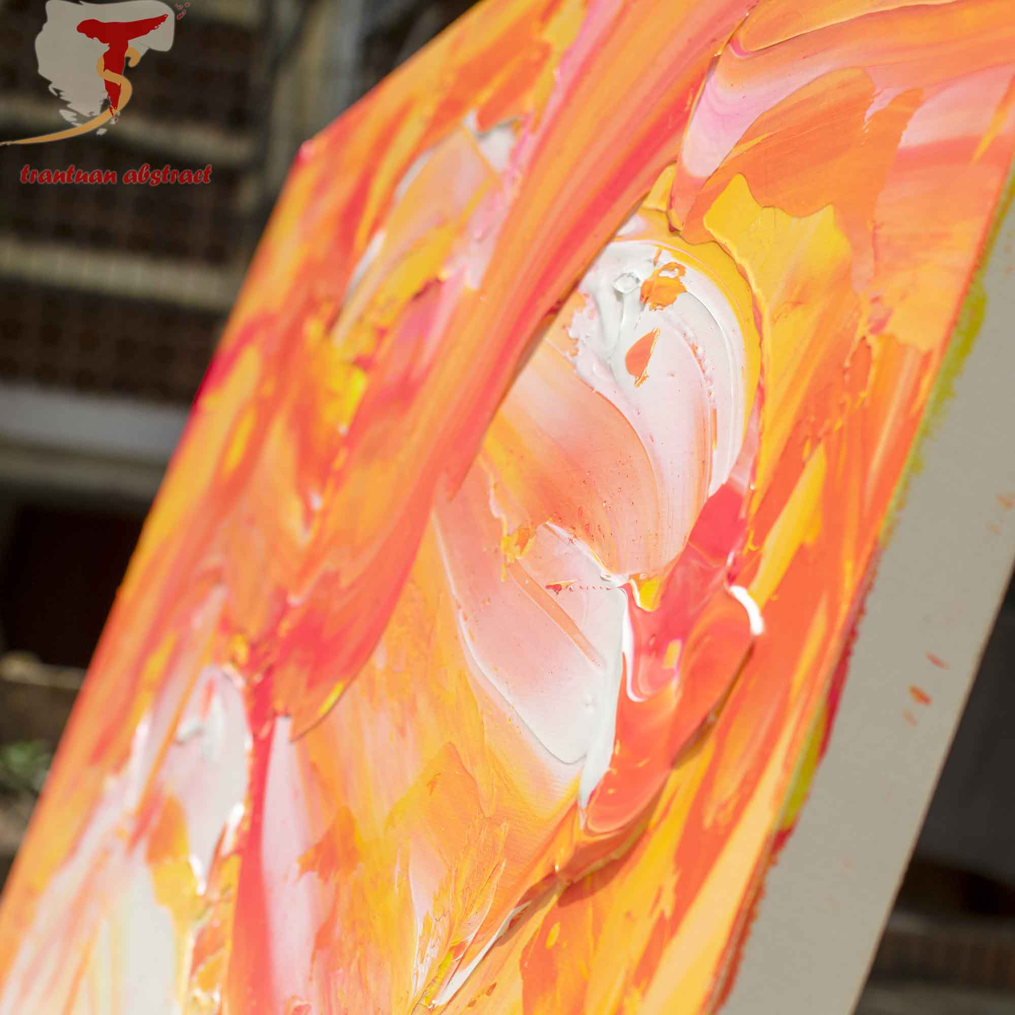 Tran Tuan Abstract Dance of Summer 2021 135 x 80 x 5 cm Acrylic on Canvas Painting Detail