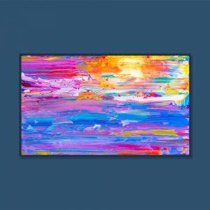 Tran Tuan Abstract Dawn on the Sea 135 x 80 x 5 cm Acrylic on Canvas Painting