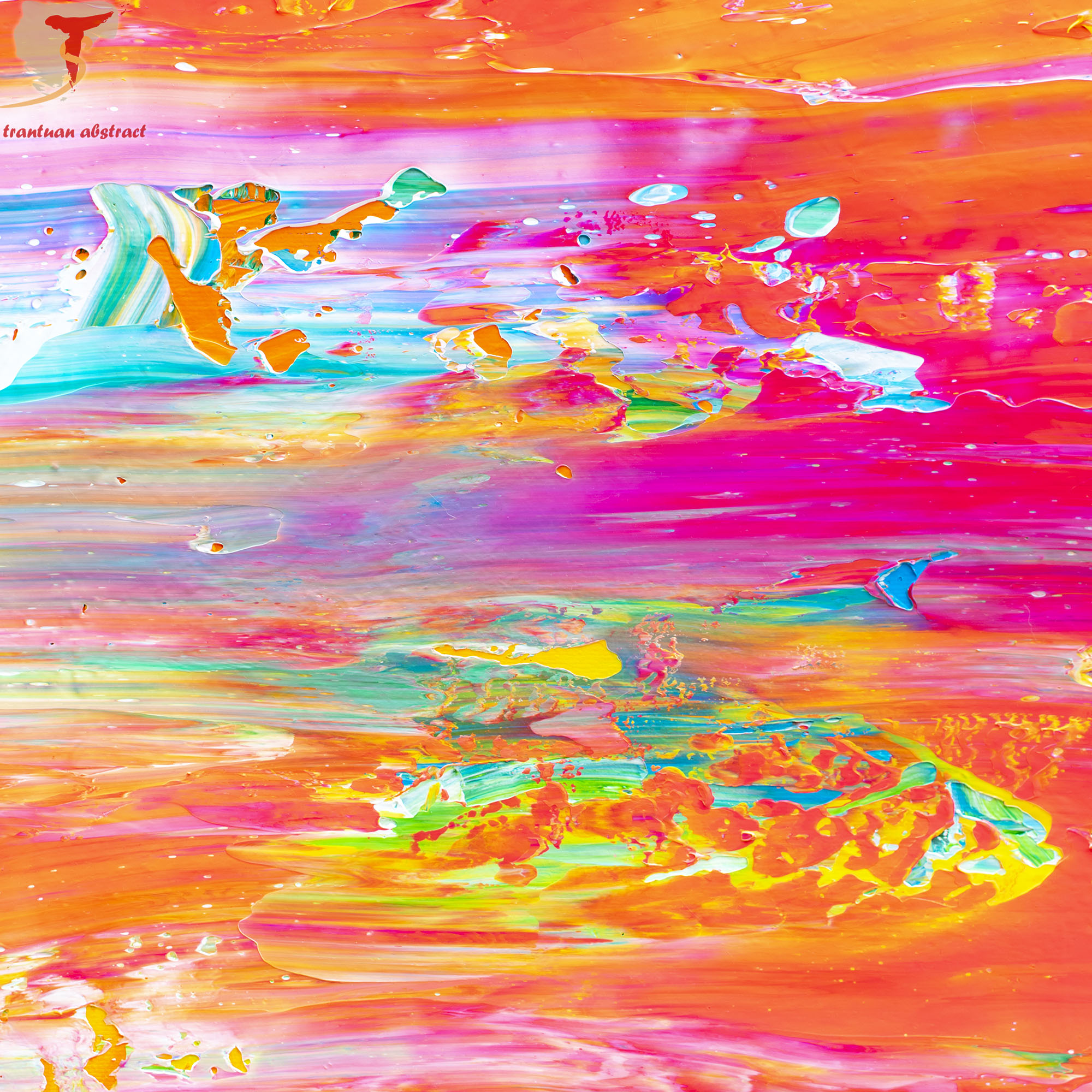 Tran Tuan Abstract Dawn on the Sea 135 x 80 x 5 cm Acrylic on Canvas Painting Detail