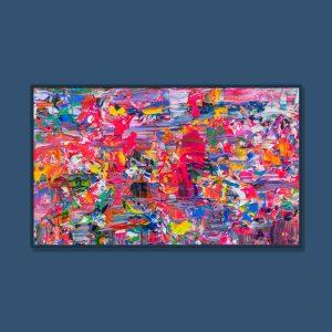 Tran Tuan Abstract Festival Dances 2021 135 x 80 x 5 cm Acrylic on Canvas Painting