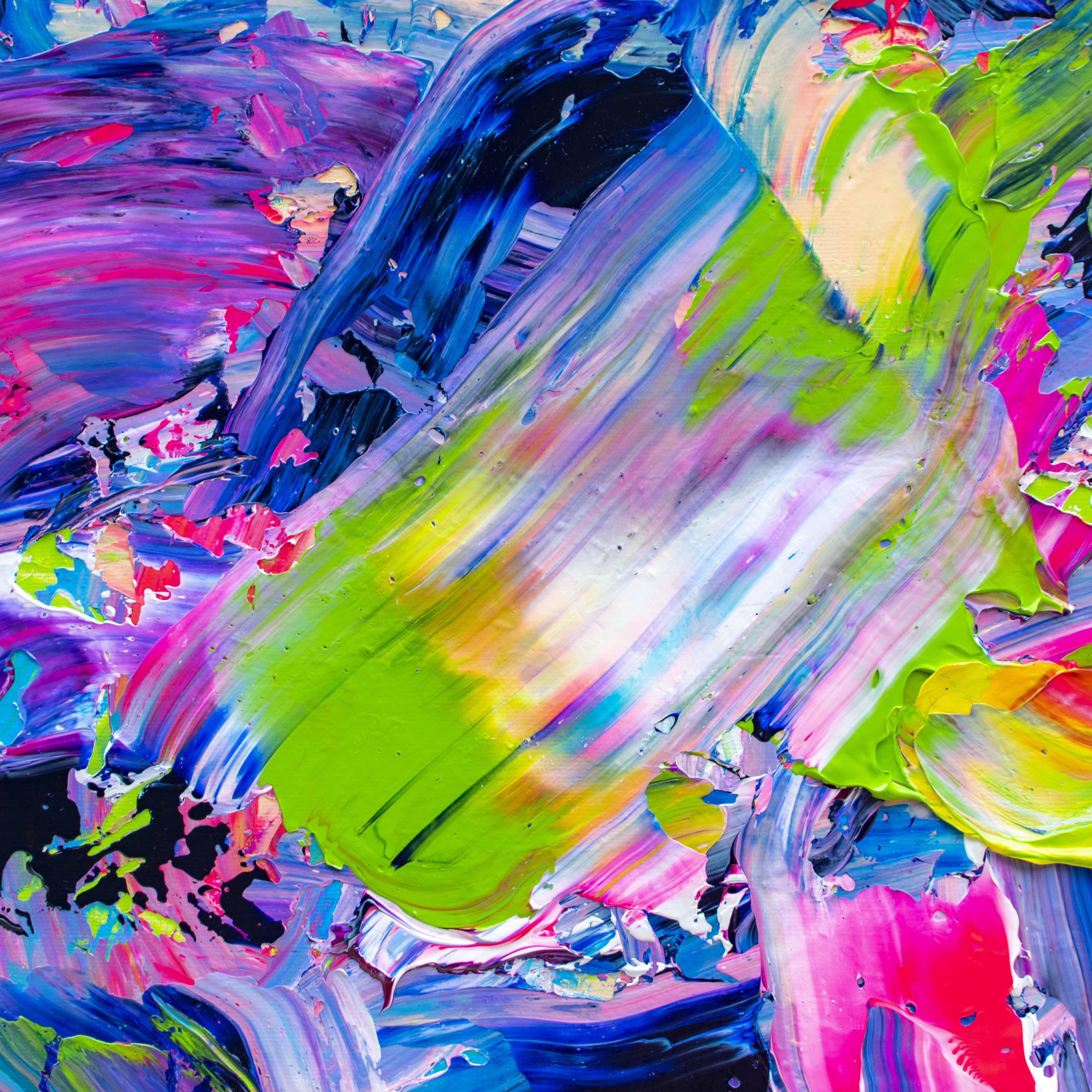 Tran Tuan Abstract Fireworks Night 2021 135 x 80 x 5 cm Acrylic on Canvas Painting Detail