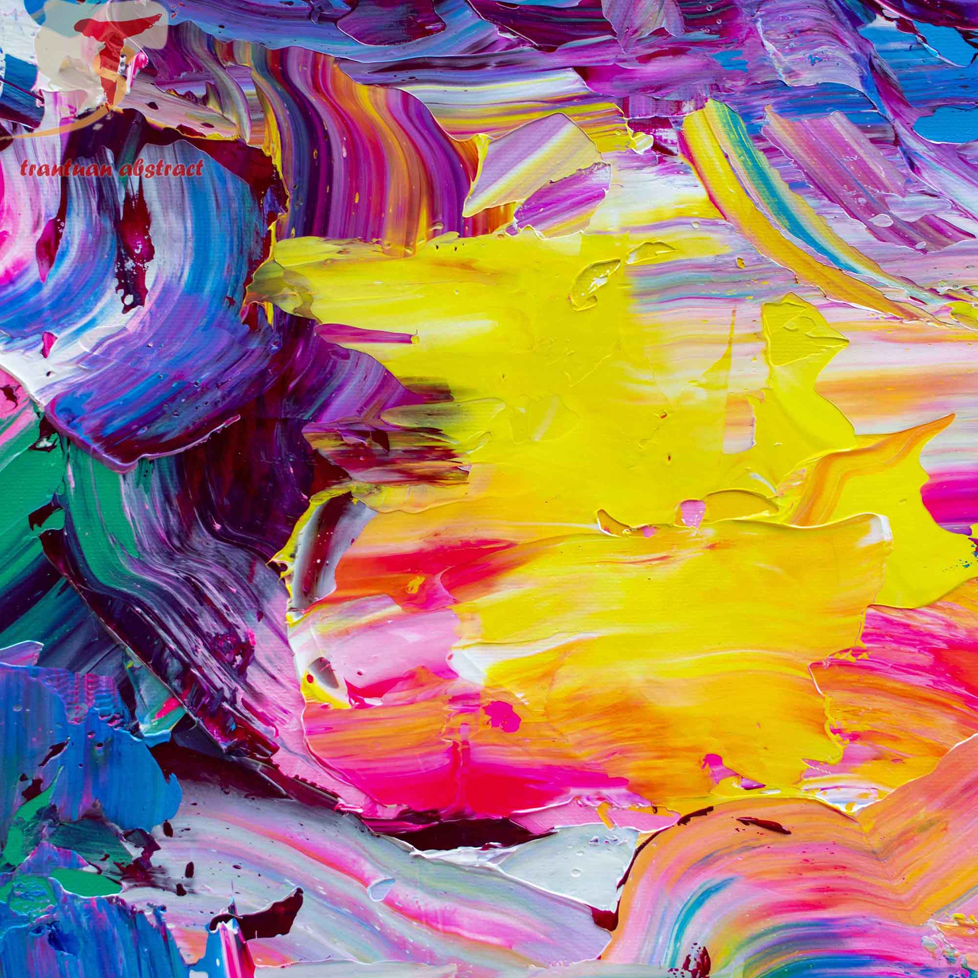 Tran Tuan Abstract Flying to the Light 135 x 80 x 5 cm Acrylic on Canvas Painting Detail s (2)