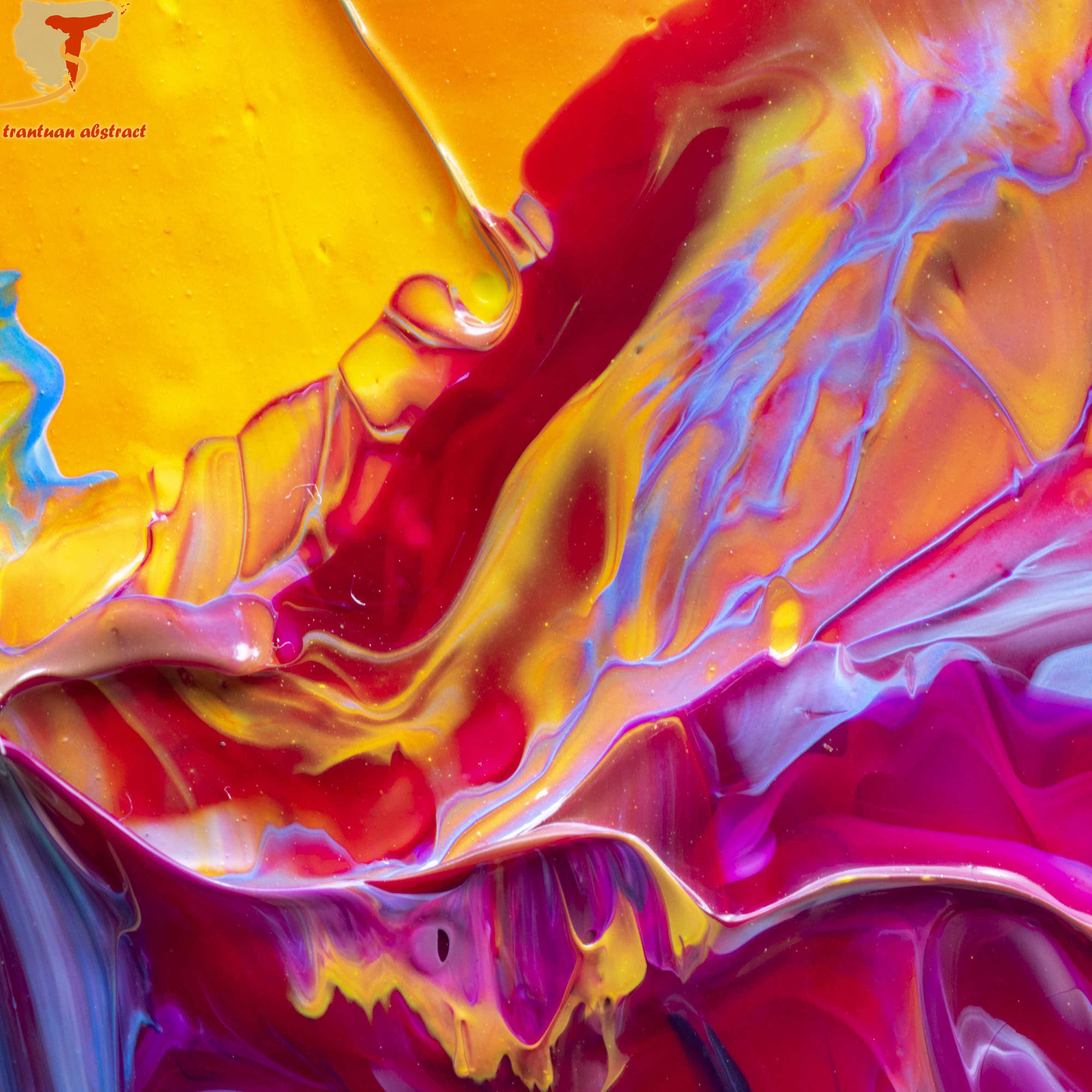 Tran Tuan Abstract Love and Sun 2021 95 x 68 x 5 cm Acrylic on Canvas Painting Detail