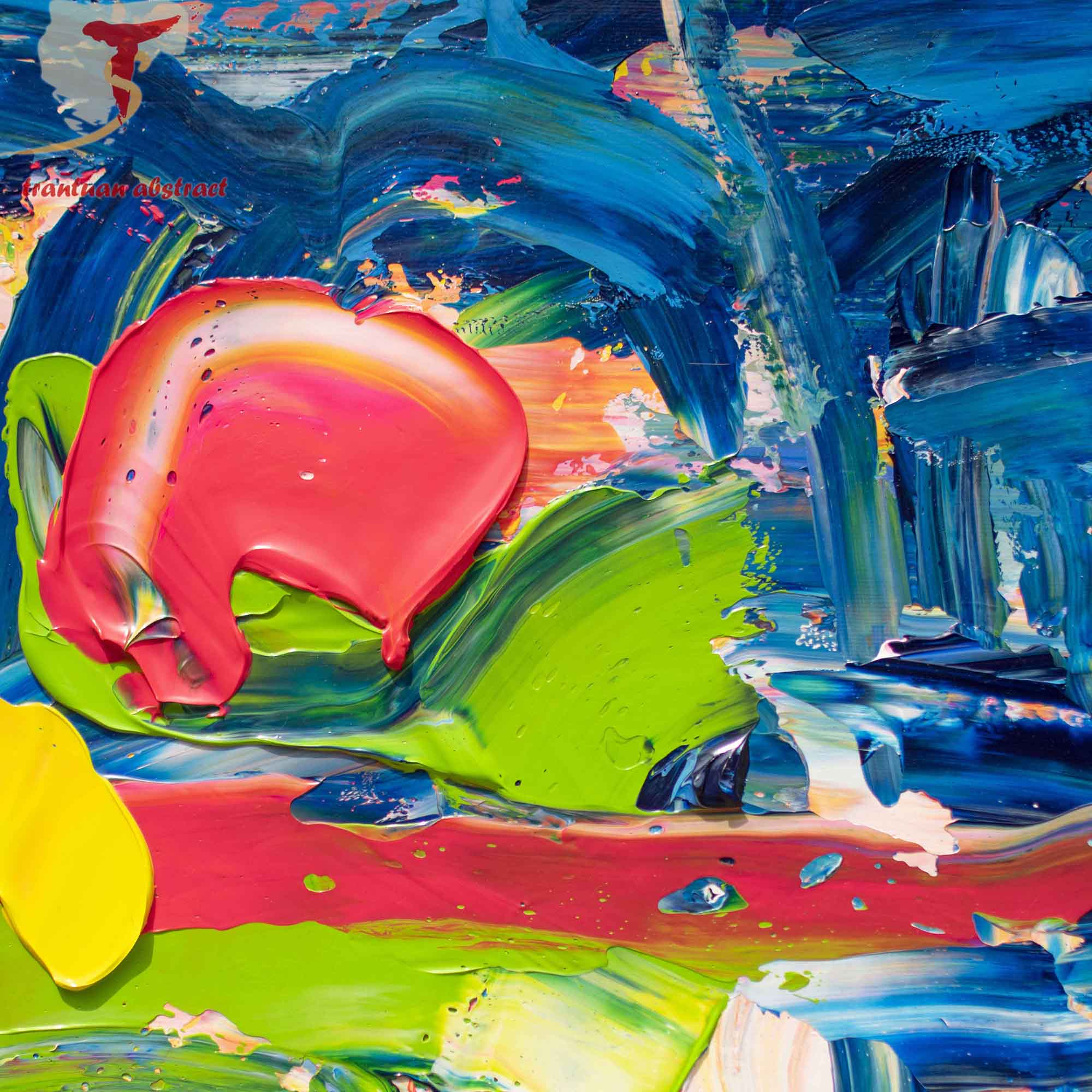Tran Tuan Abstract Love of Children 2021 135 x 80 x 5 cm Acrylic on Canvas Painting Detail