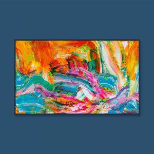Tran Tuan Abstract Rainbow and Sea 2021 135 x 80 x 5 cm Acrylic on Canvas Painting