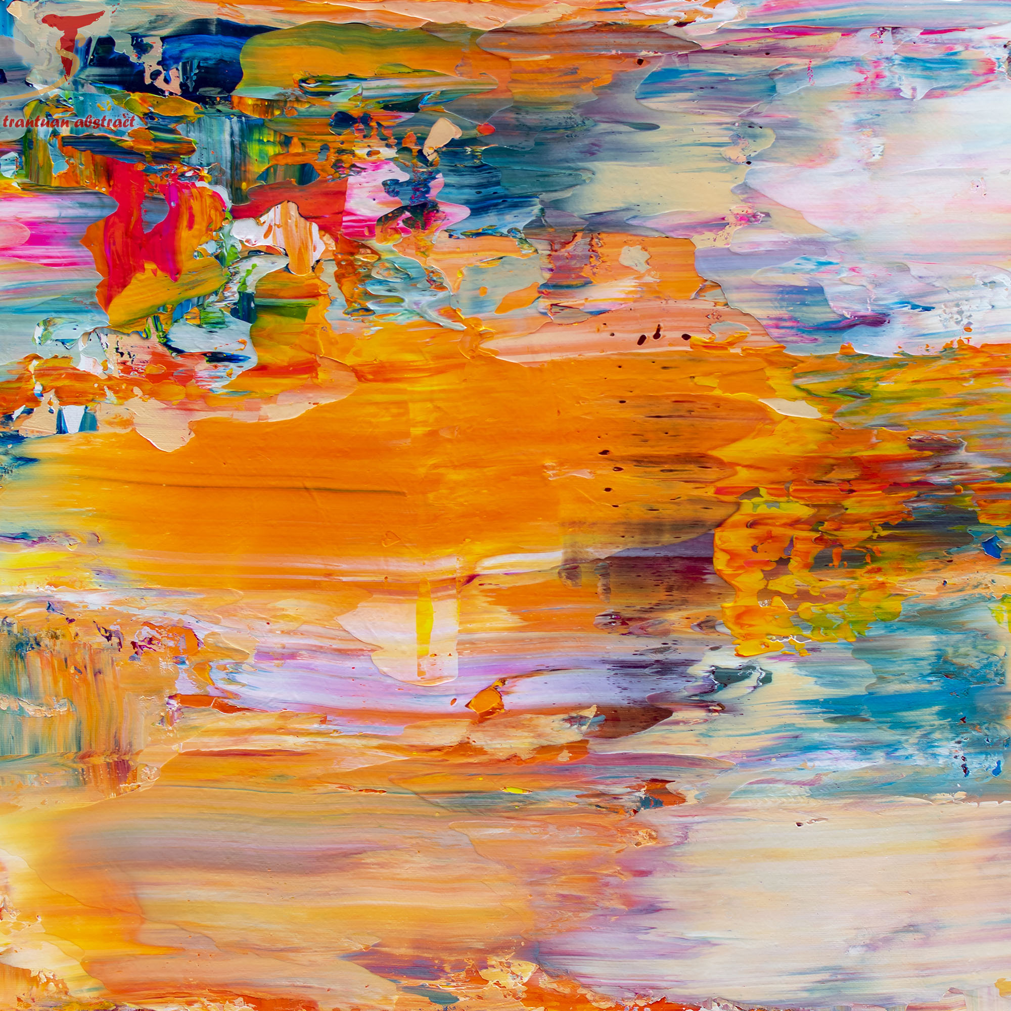 Tran Tuan Abstract Remote Beauty 2021 135 x 80 x 5 cm Acrylic on Canvas Painting Detail
