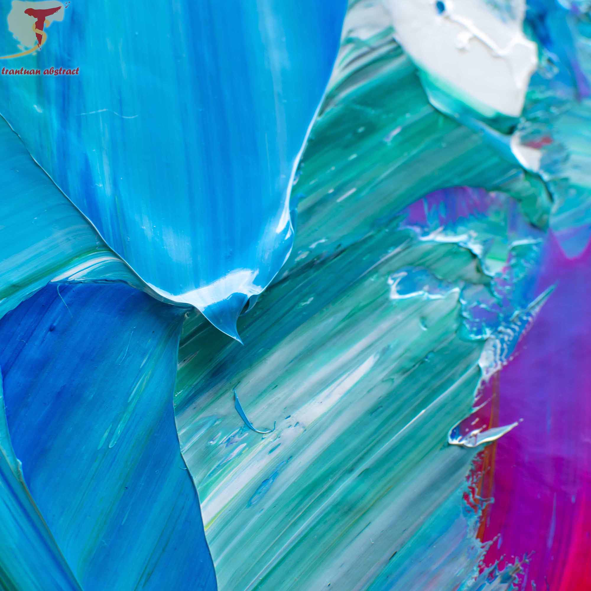 Tran Tuan Abstract Rhythm of Nature 2021 135 x 80 x 5 cm Acrylic on Canvas Painting Detail