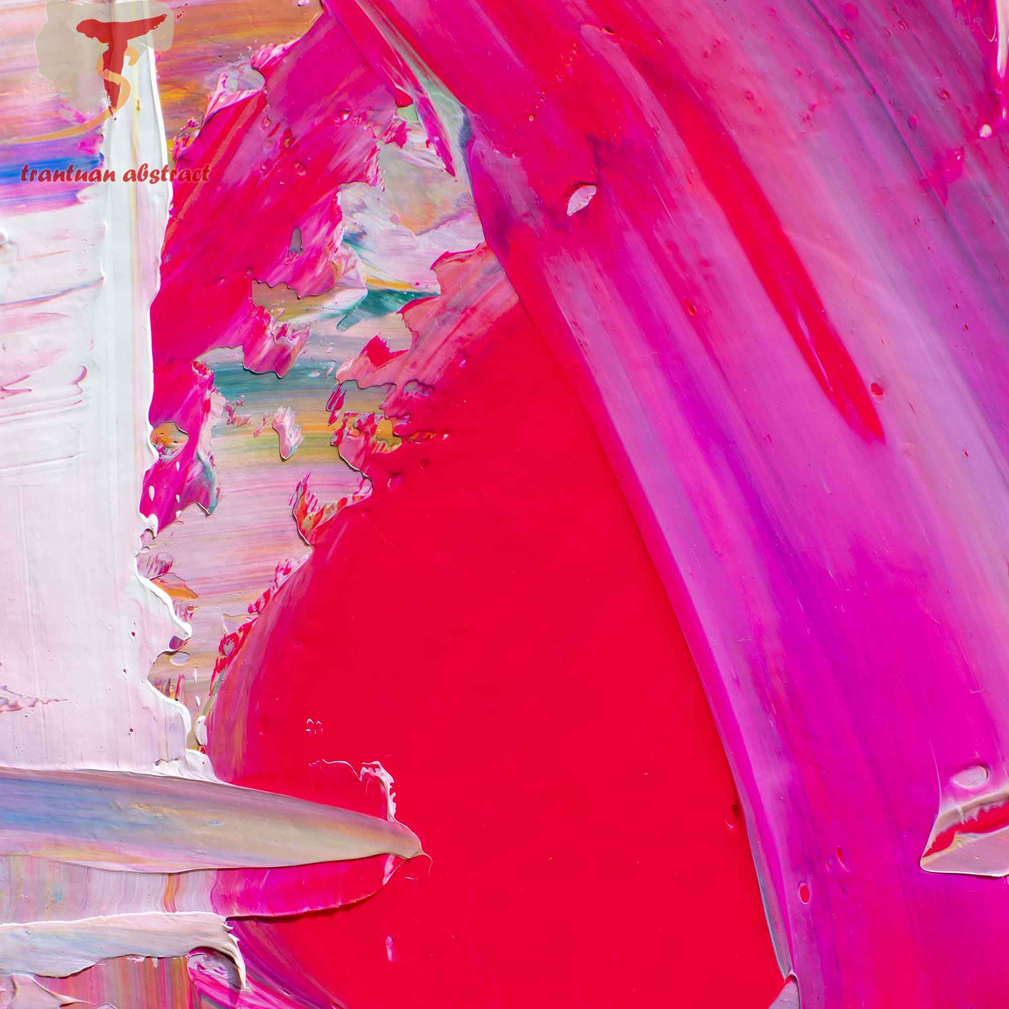 Tran Tuan Abstract Rose of Love 135 x 80 x 5 cm Acrylic on Canvas Painting Detail s (28)