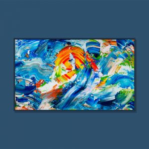 Tran Tuan Abstract Sea and Sun 135 x 80 x 5 cm Acrylic on Canvas Painting