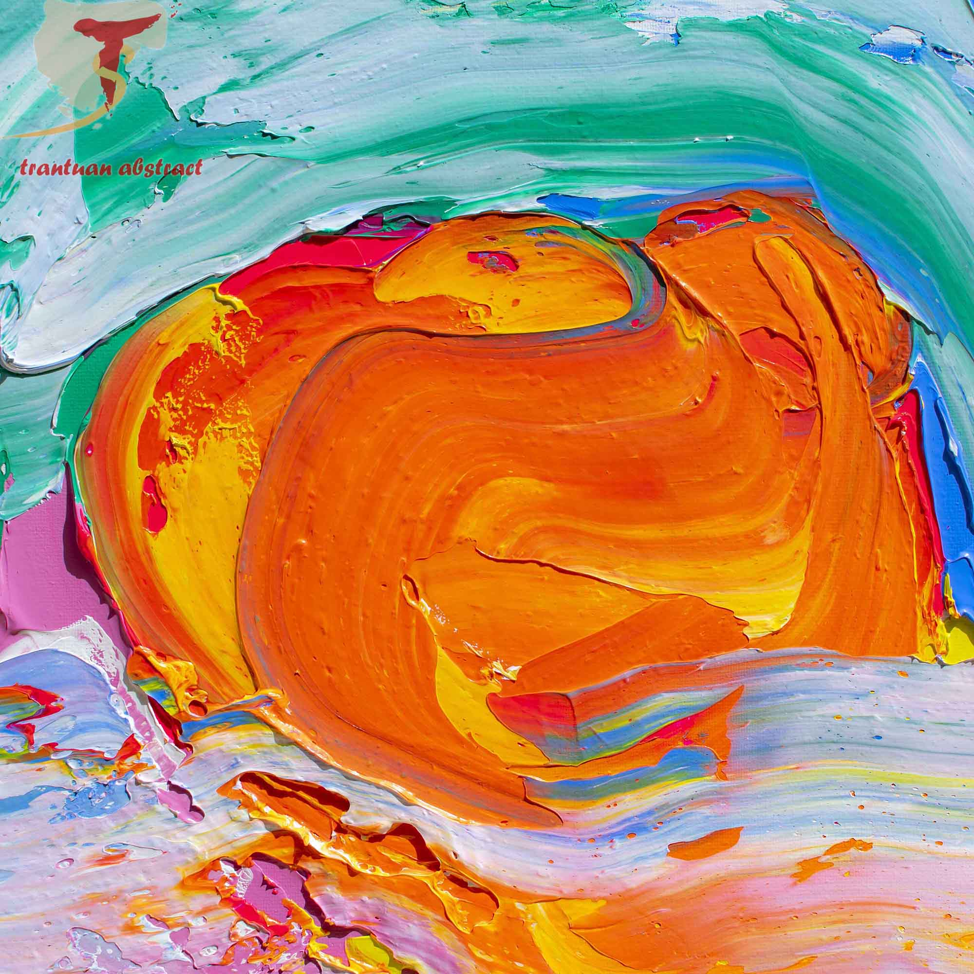 Tran Tuan Abstract Sun on the Waves 2021 135 x 80 x 5 cm Acrylic on Canvas Painting Detail s (27)
