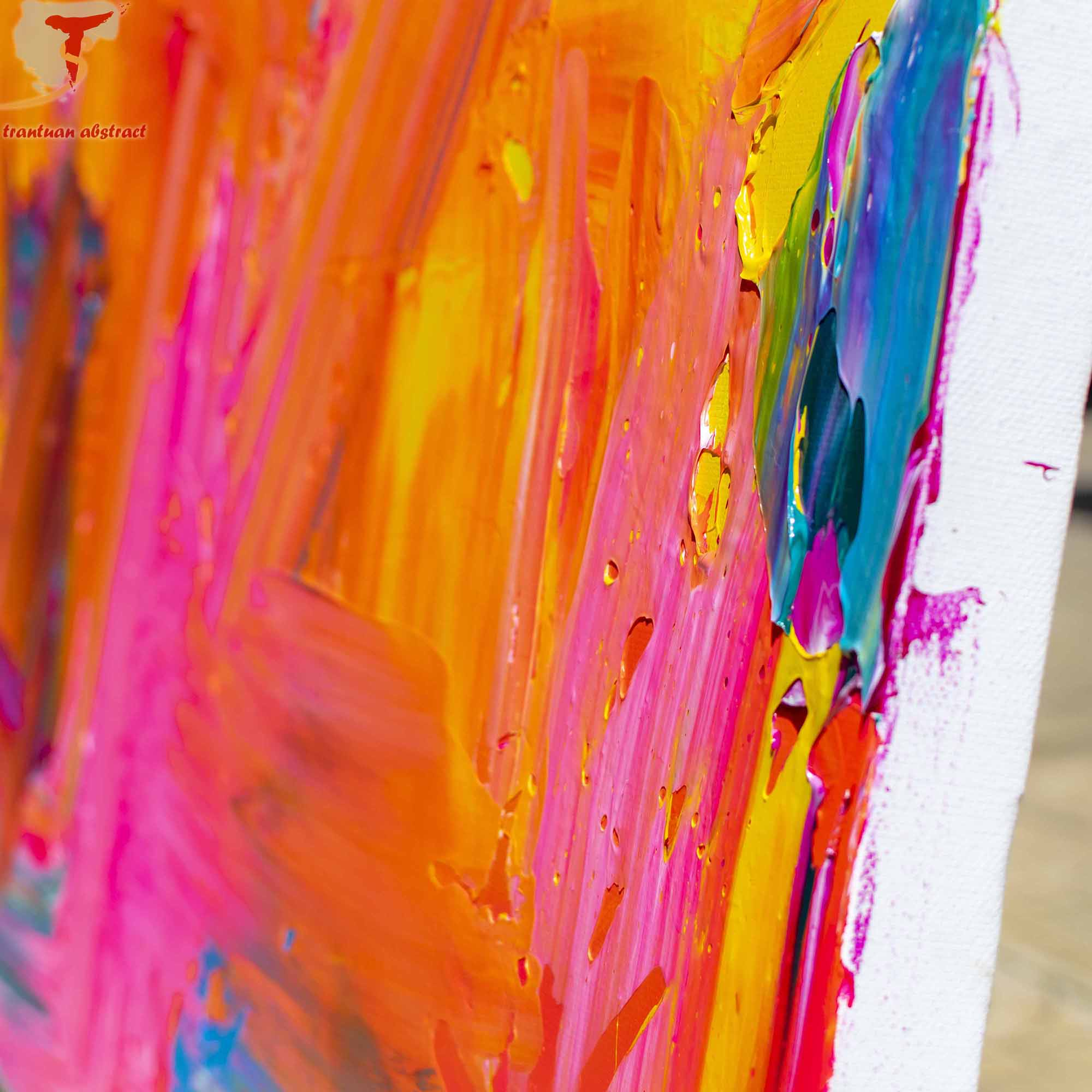 Tran Tuan Abstract Sweet Colors 2021 135 x 80 x 5 cm Acrylic on Canvas Painting Detail