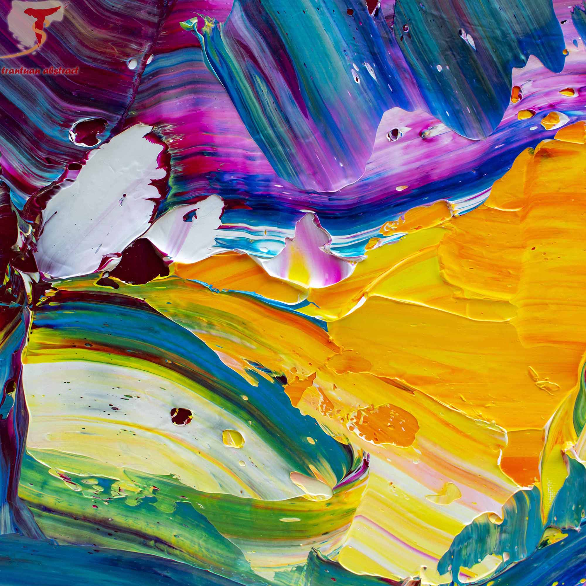 Tran Tuan Abstract The Light 2021 135 x 80 x 5 cm Acrylic on Canvas Painting Detail (1)