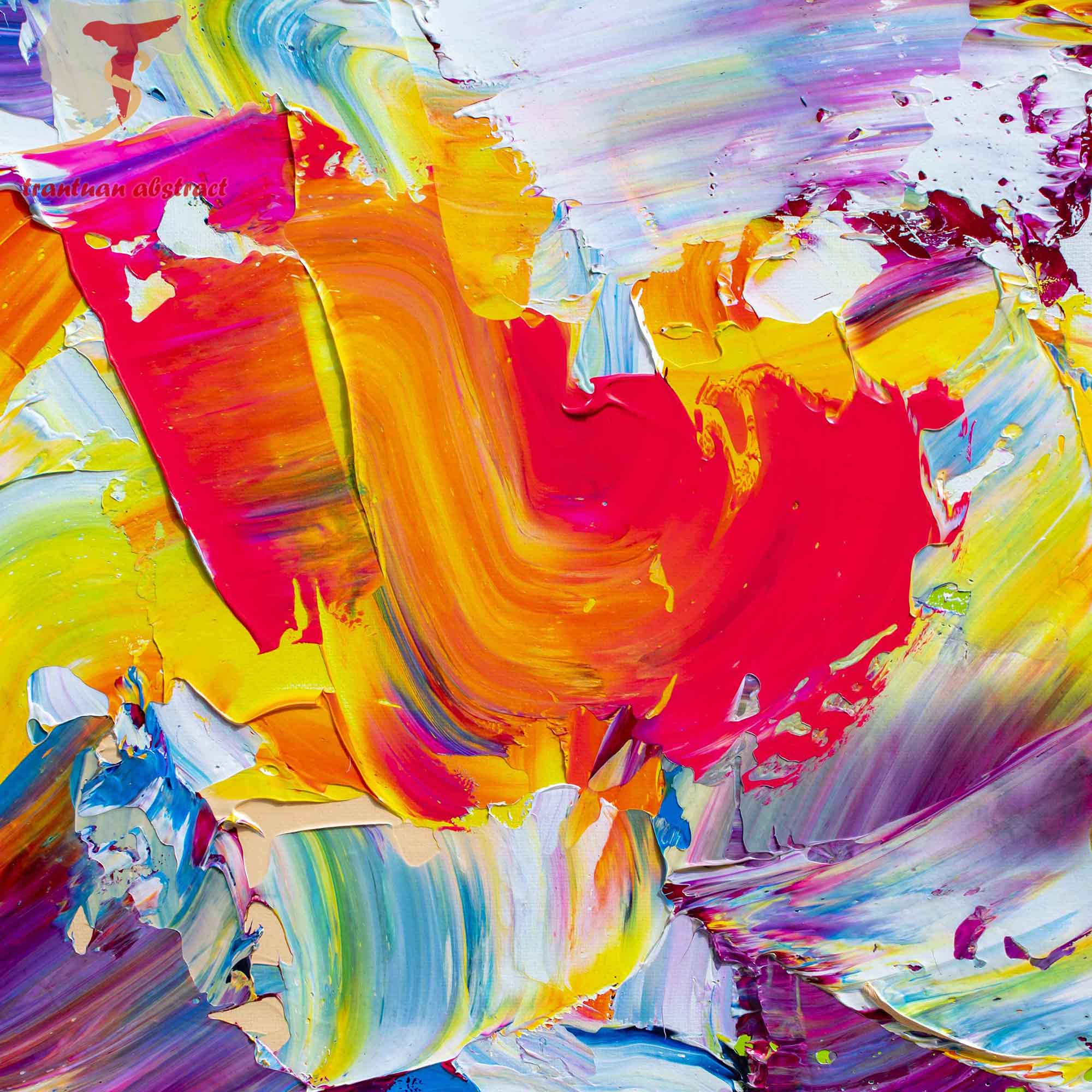 Tran Tuan Abstract Intense Love 2021 135 x 80 x 5 cm Acrylic on Canvas Painting Detail s (2)