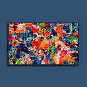 Tran Tuan Abstract Lotus Lake 2021 135 x 80 x 5 cm Acrylic on Canvas Painting