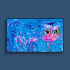 Tran Tuan Abstract Pink Cat 2021 135 x 80 x 5 cm Acrylic on Canvas Painting