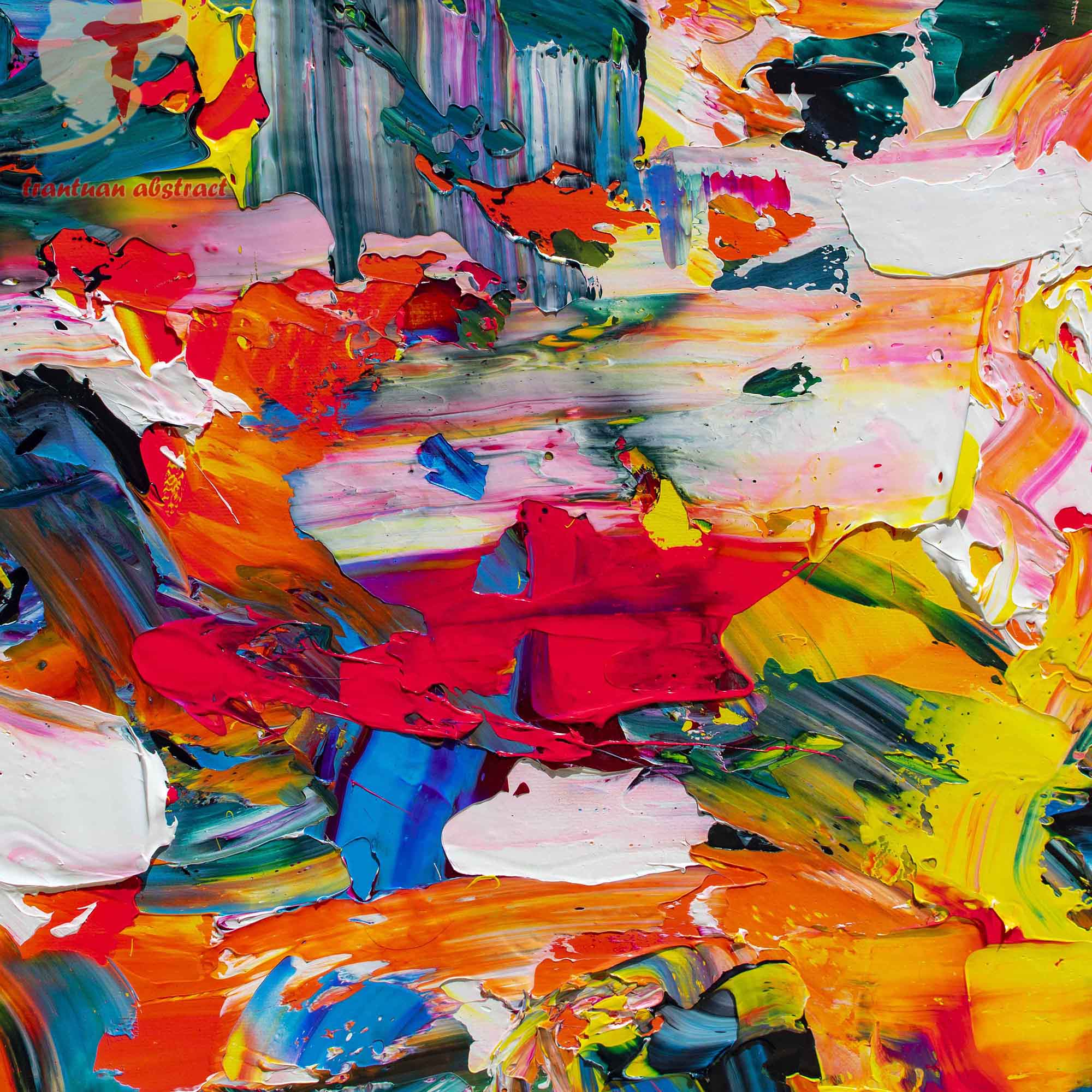 Tran Tuan Abstract Dance of Children 2021 135 x 80 x 5 cm Acrylic on Canvas Painting Detail s (2)