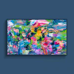 Tran Tuan Artist Coastal City at Night 2021 135 x 80 x 5 cm Acrylic on Canvas Painting