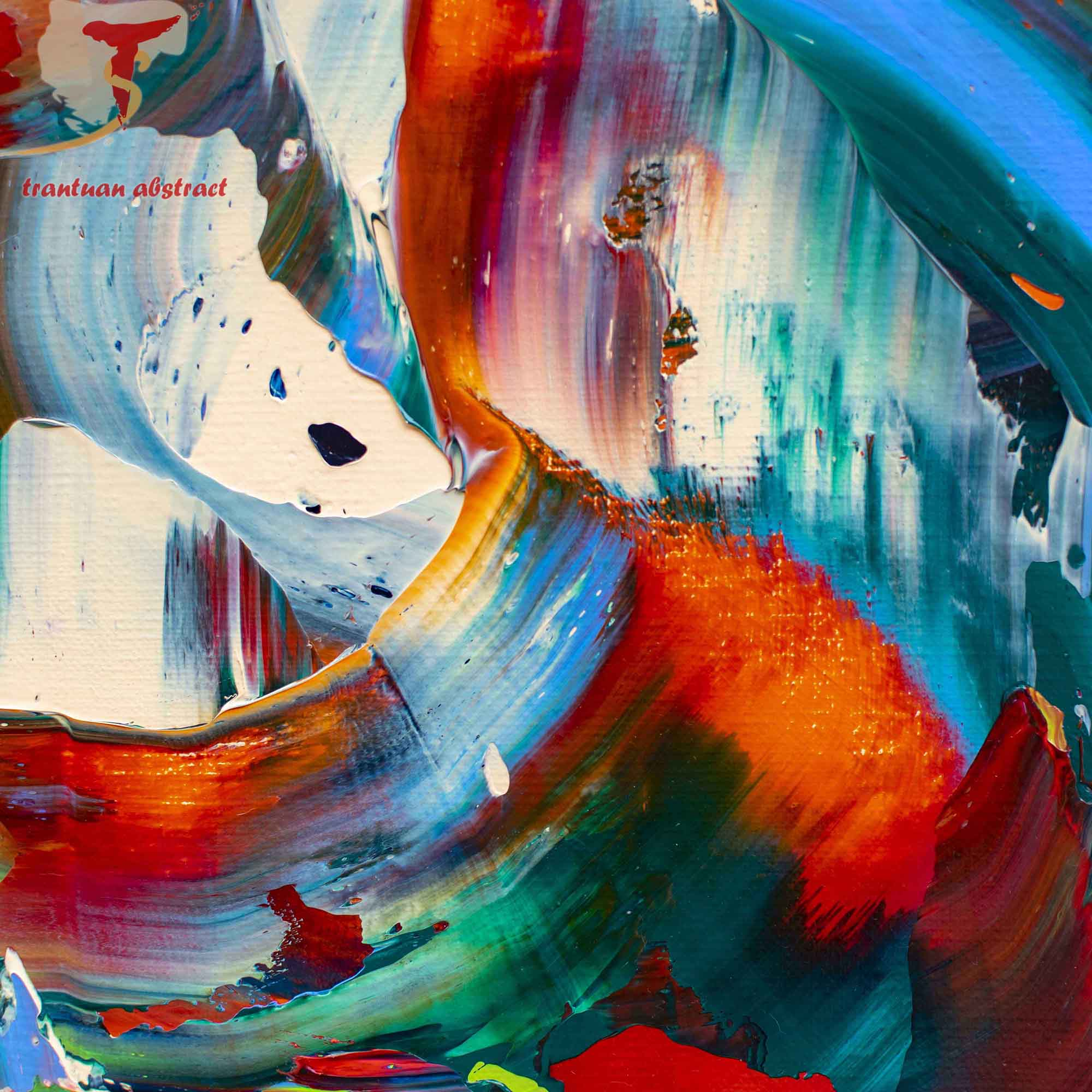 Tran Tuan Abstract Color of Nostalgia 2021 100 x 100 x 3 cm Acrylic on Canvas Painting Detail s (3)