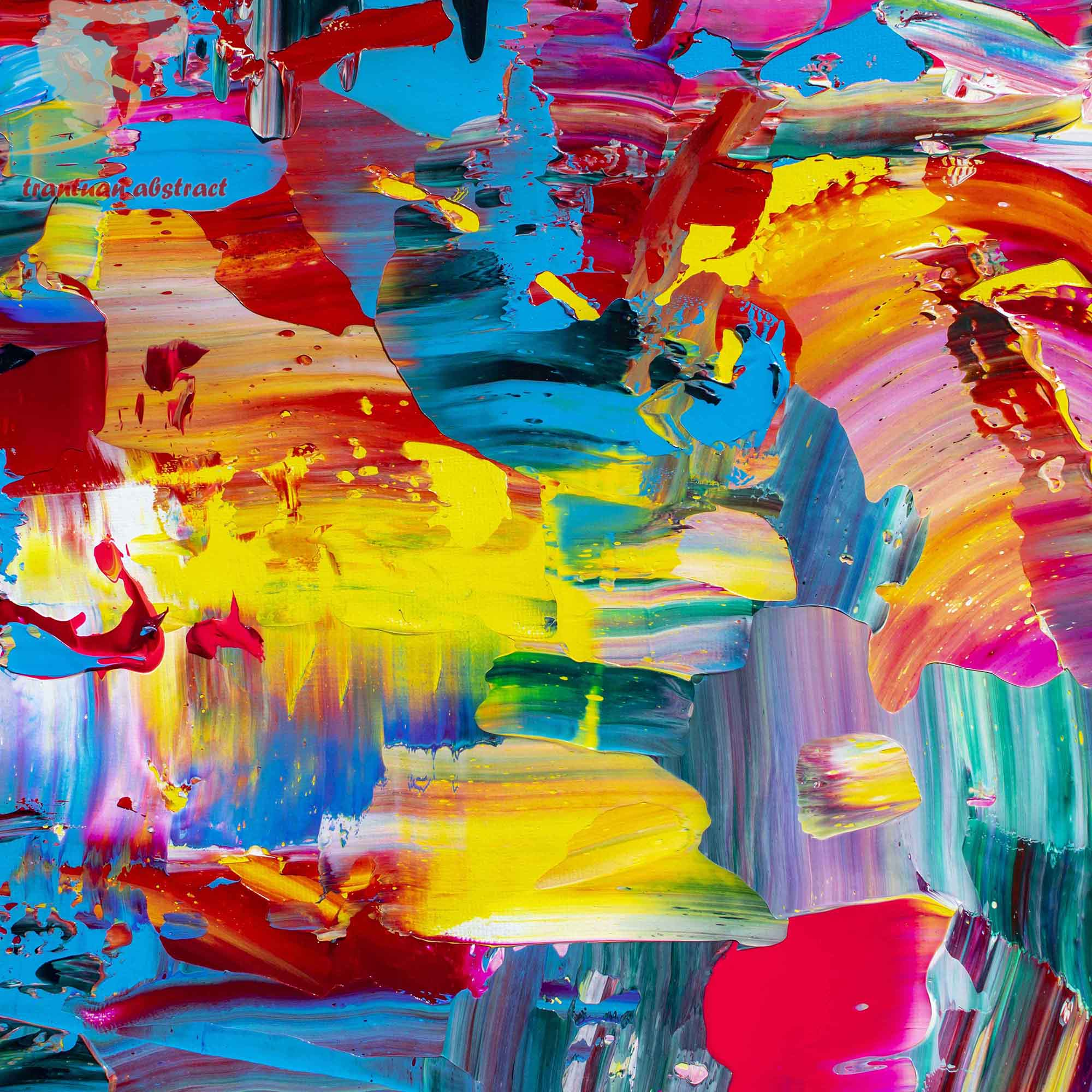 Tran Tuan Abstract Evening Garden 2021 95 x 68 x 5 cm Acrylic on Canvas Painting Detail s (1)