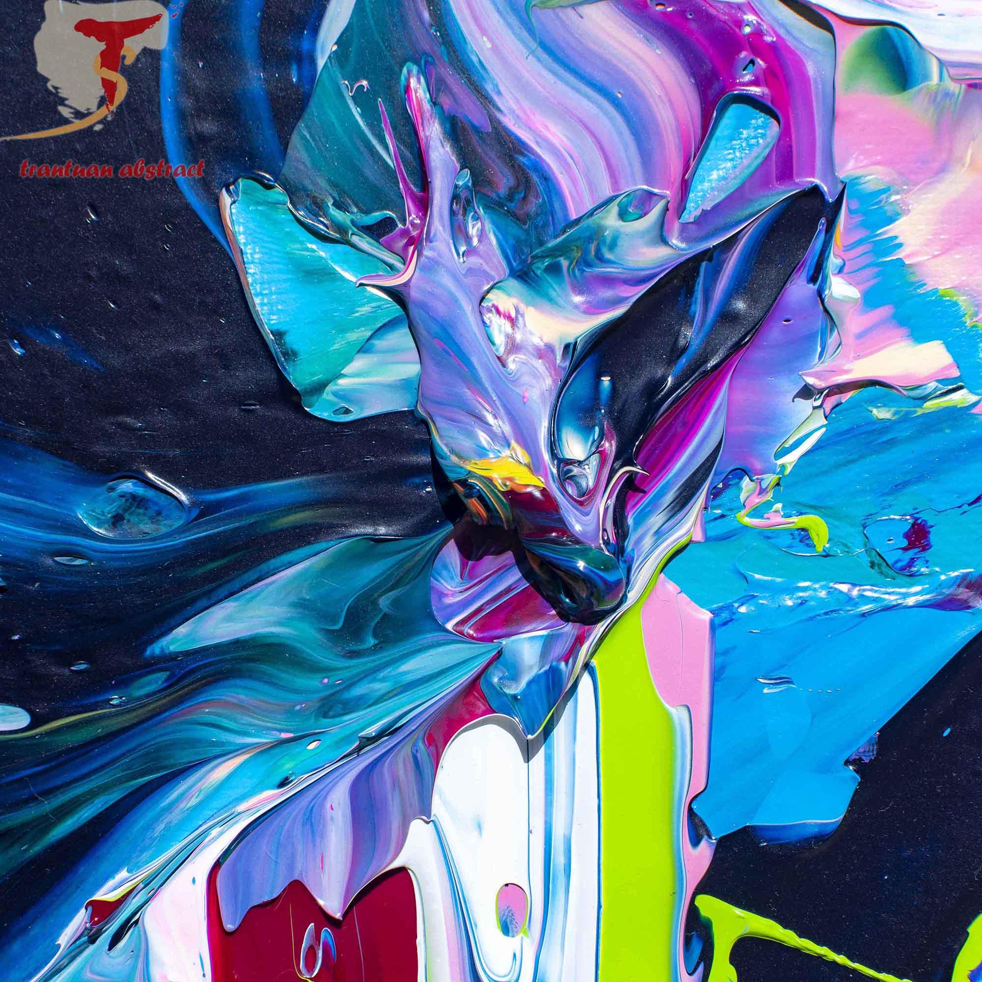 Tran Tuan Artist Agleam Florescence 120 x 100 x 5 cm Acrylic on Canvas Painting Detail s (5)